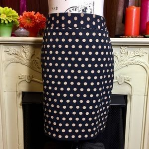 Loft Black and Beige Polka Dot Pencil Skirt